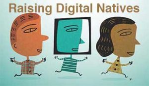 Three cartoon figures running with title Raising Digital Natives